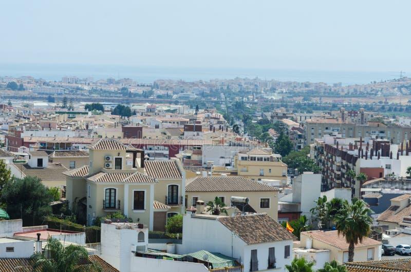 VELEZ-MALAGA,西班牙- 2018 8月24日,视图在小的大厦 免版税库存照片
