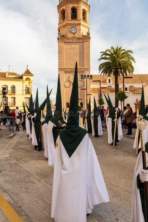 参加队伍的贝莱斯-马拉加,西班牙- 2018 3月29日,人在圣周在西班牙城市 图库摄影