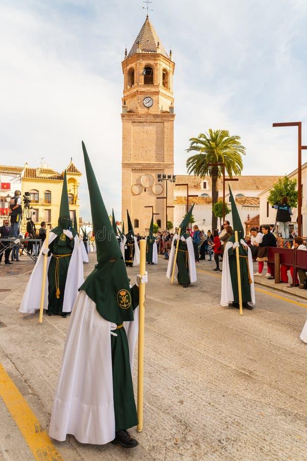 参加队伍的贝莱斯-马拉加,西班牙- 2018 3月29日,人在圣周在西班牙城市 库存照片