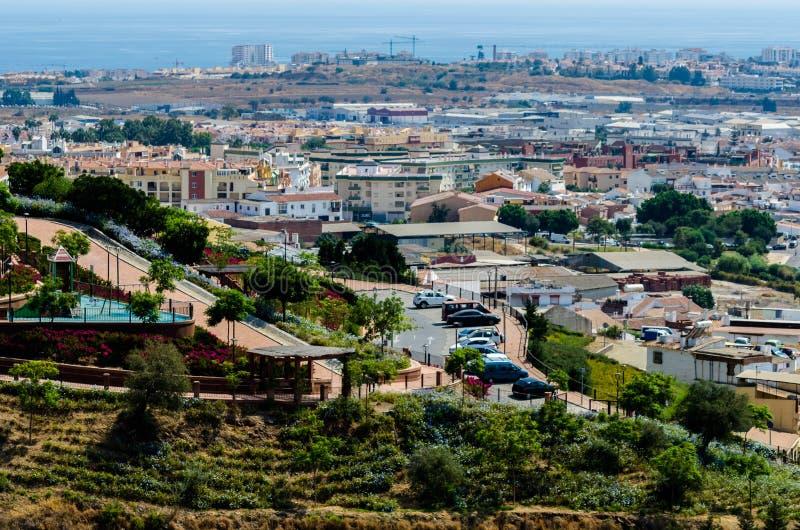 VELEZ-MALAGA, SPANIEN - parken Sie 24. August 2018 in der Kleinstadt herein lizenzfreies stockbild
