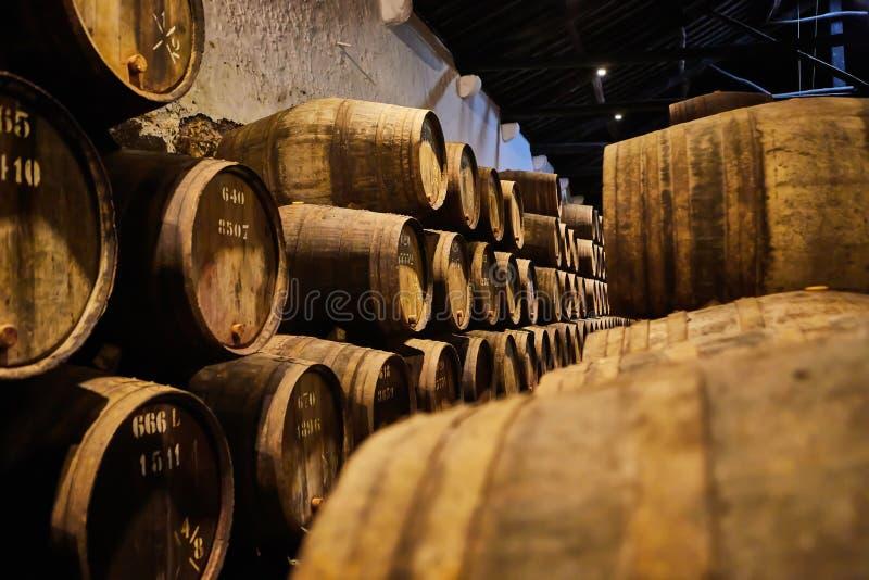 Velho envelheceu tambores de madeira tradicionais com vinho em um cofre-forte alinhado na adega fresca e escura em Itália, Porto, fotos de stock royalty free