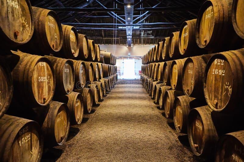 Velho envelheceu tambores de madeira tradicionais com vinho em um cofre-forte alinhado na adega fresca e escura em It?lia, Porto, fotos de stock royalty free