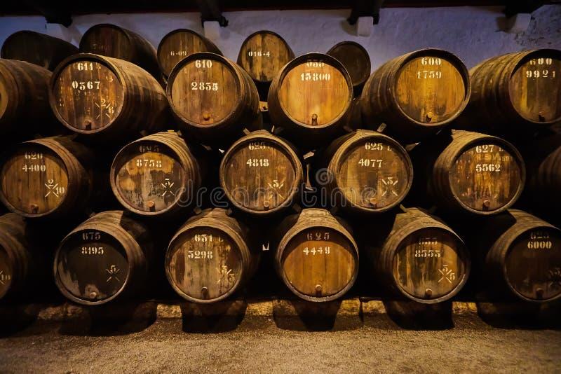 Velho envelheceu tambores de madeira tradicionais com vinho em um cofre-forte alinhado na adega fresca e escura em It?lia, Porto, imagem de stock royalty free