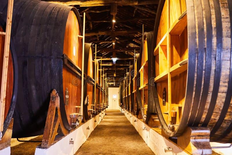 Velho envelheceu tambores de madeira tradicionais com vinho em um cofre-forte alinhado na adega fresca e escura em It?lia, Porto, fotos de stock