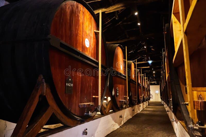 Velho envelheceu tambores de madeira tradicionais com vinho em um cofre-forte alinhado na adega fresca e escura em It?lia, Porto, foto de stock