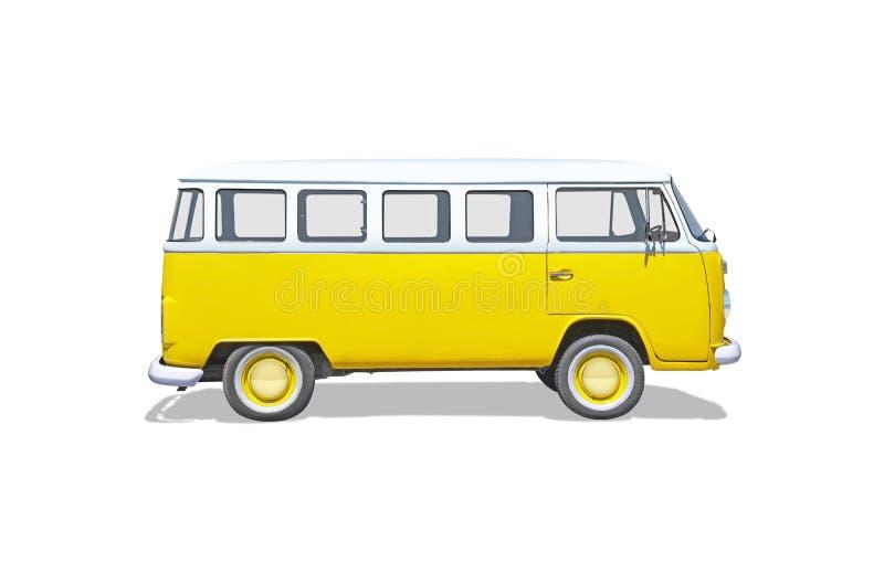 Velho isolado, culto, camionete amarela da hippie fotos de stock