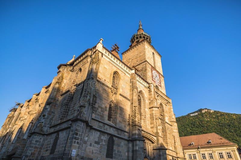 Â velho Romania do centro de cidade do â de Brasov Igreja preta construída em épocas medievais no Conselho imagens de stock royalty free