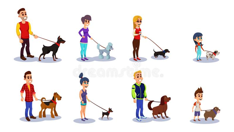 Velhos e Jovens com Cachorros em Leash Walking ilustração stock