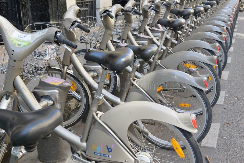 Velib Bike, a Bicycle share program in Paris stock photo