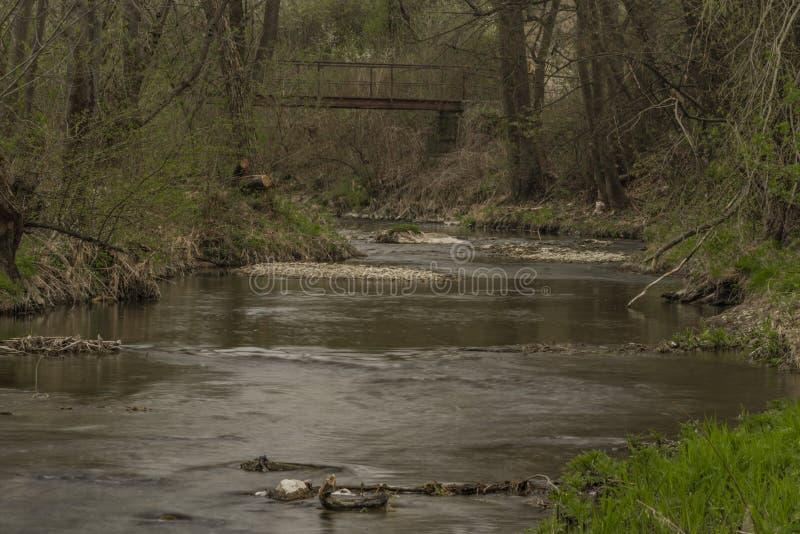Velicka河在Louka村庄附近的春天阴天 库存图片