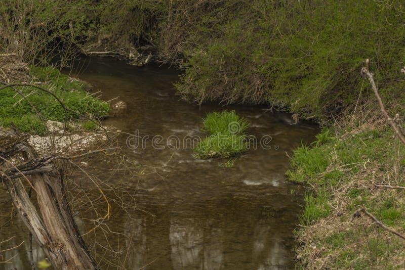 Velicka river in spring cloudy day near Louka village stock photos