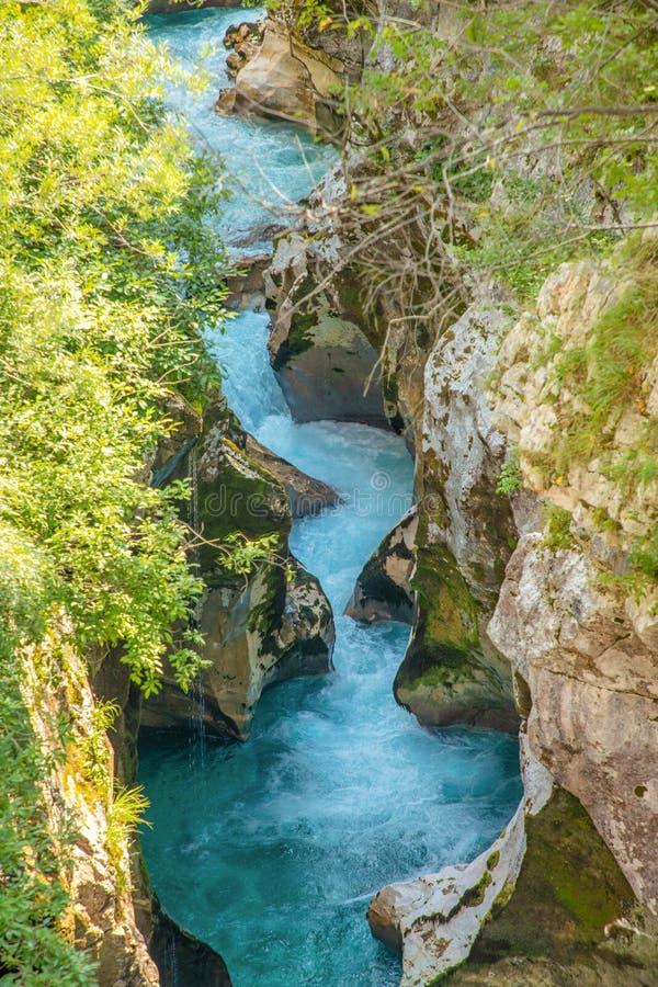 Velika Korita is canyon of Soca river in Soca valley, Slovenia royalty free stock photo