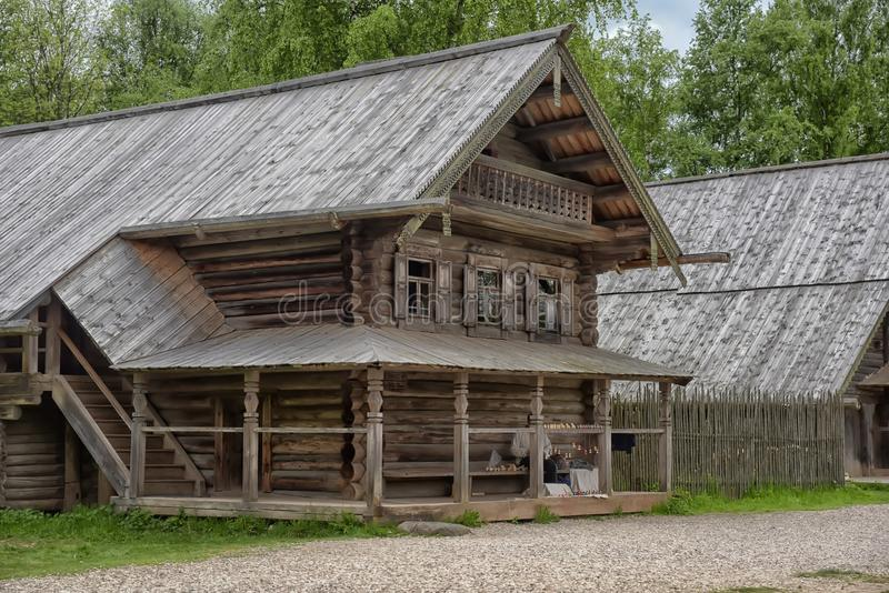 Velikiy Novgorod, Russia - 23.05.2015: Typical farmhouse in northern Russia. Open air Museum of Wooden Architecture royalty free stock photography