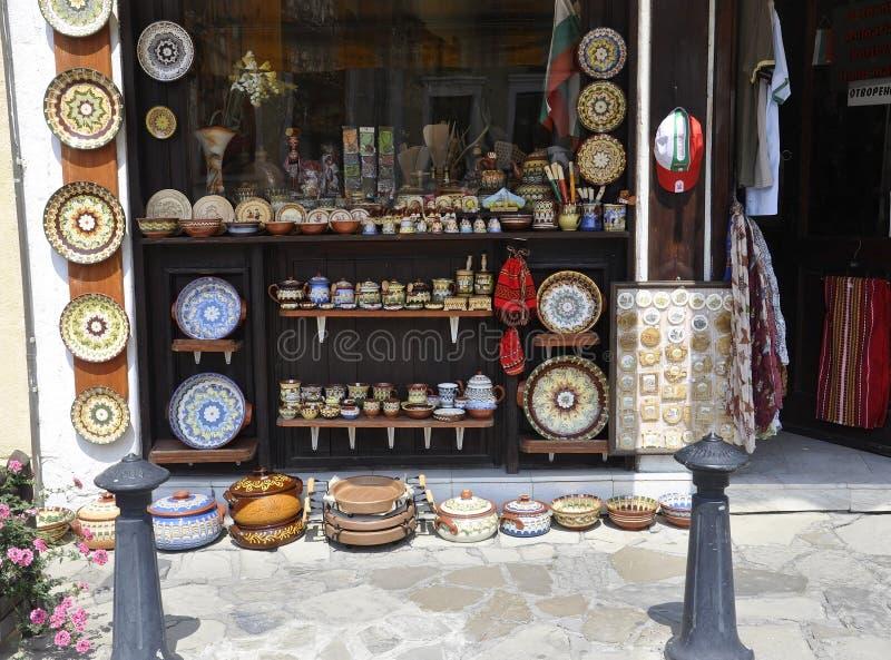 Veliko Tarnovo BG, August 15th: Souvenirs Store in the Medieval town Veliko Tarnovo from Bulgaria. Souvenirs Store of the Medieval town Veliko Tarnovo from royalty free stock image