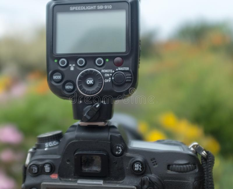 Nikon speedlight on camera Hot shoe royalty free stock photos