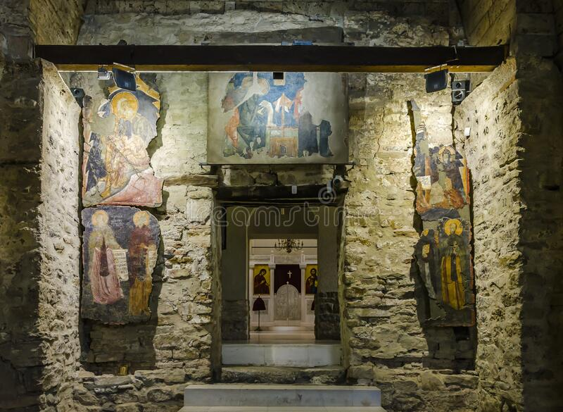Preserved frescoes in The Holy Forty Martyrs Church royalty free stock images