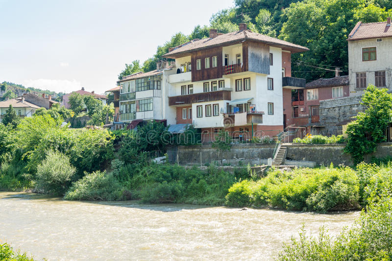 Veliko Tarnovo in Bulgaria. Yantra River Embankment stock image