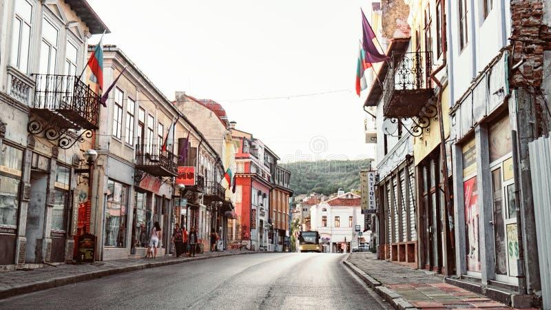 Veliko Tarnovo old street at sunset in Bulgaria stock image
