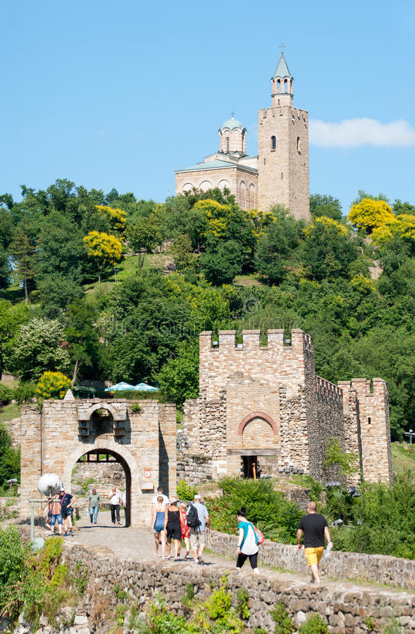 Veliko Tarnovo: turists in the ancient fortress stock image