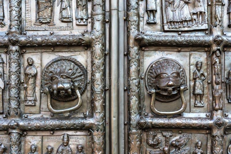 Veliky Novgorod, Ρωσία - 31 Αυγούστου 2018: Λεπτομέρεια μιας μερίδας Magdeburg Γκέιτς στη δυτική είσοδο στον καθεδρικό ναό του ST στοκ εικόνες με δικαίωμα ελεύθερης χρήσης