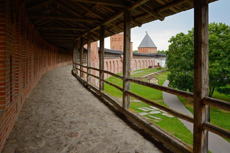 Veliky Novgorod, the combat move of the citadel. Veliky Novgorod, cloisters combat groove on the walls of the citadel stock photos