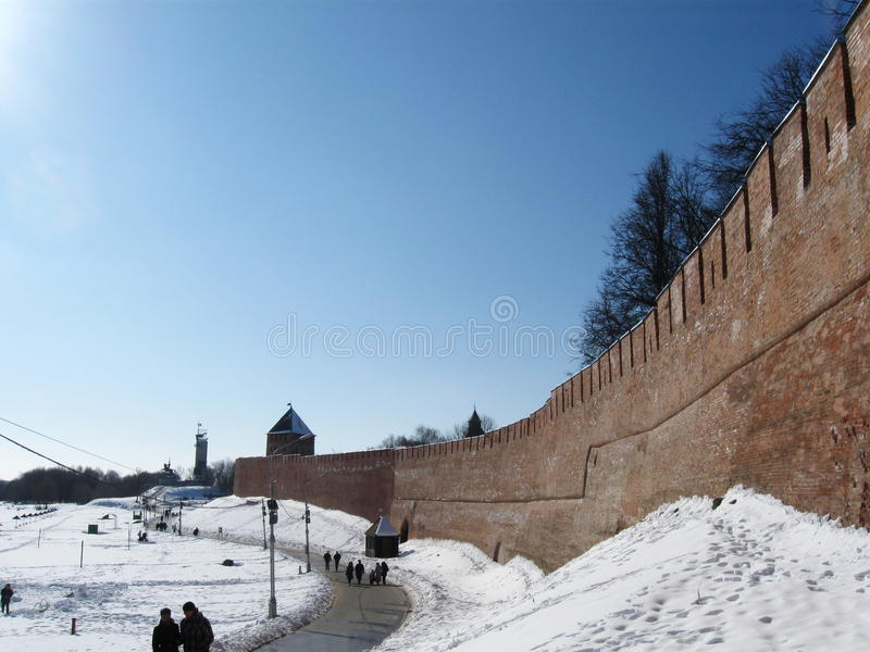 Veliky Novgorod, der Kreml, Winter lizenzfreie stockfotografie