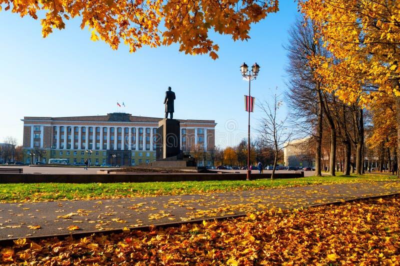 Veliky Novgorod, het Beleid van Rusland de Bouw van het gebied en het monument van Veliky Novgorod aan Lenin, Rusland De mening v stock foto