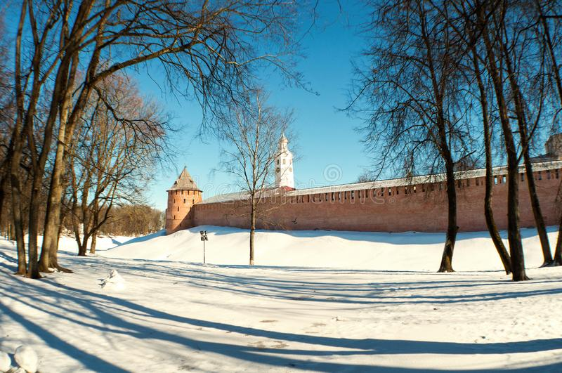 Veliky Novgorod Kremlin in winter day in Veliky Novgorod, Russia, panoramic scene. Veliky Novgorod Kremlin fortress in winter day in Veliky Novgorod, Russia royalty free stock photos