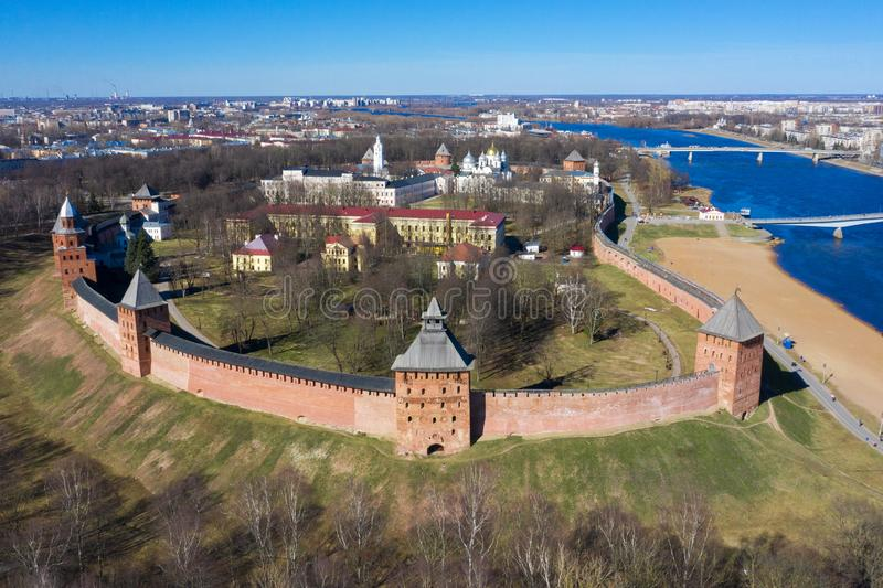 Veliky Novgorod, the old city, the ancient walls of the Kremlin, St. Sophia Cathedral. Famous tourist place of Russia.  royalty free stock photo