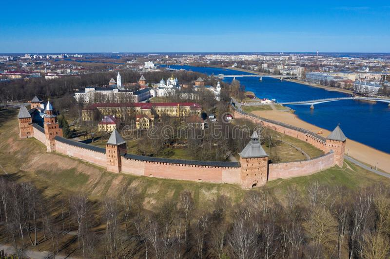 Veliky Novgorod, the old city, the ancient walls of the Kremlin, St. Sophia Cathedral. Famous tourist place of Russia.  stock image
