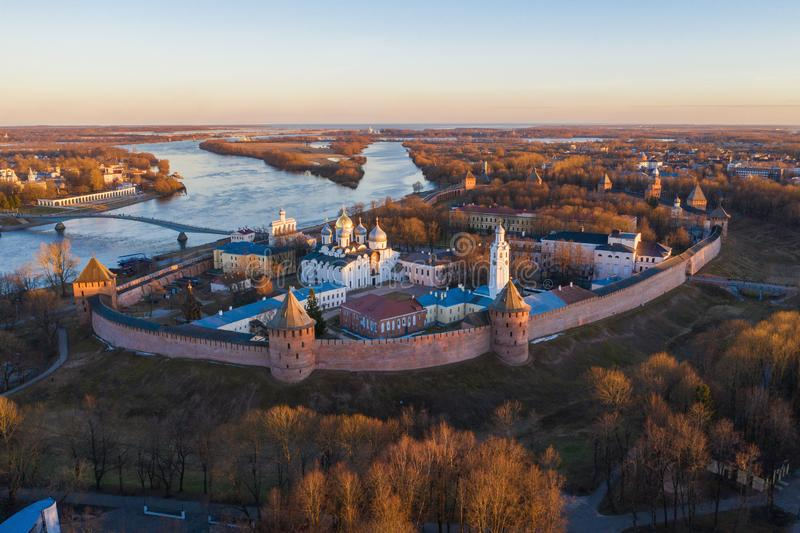Veliky Novgorod, the old city, the ancient walls of the Kremlin, St. Sophia Cathedral. Famous tourist place of Russia.  royalty free stock images