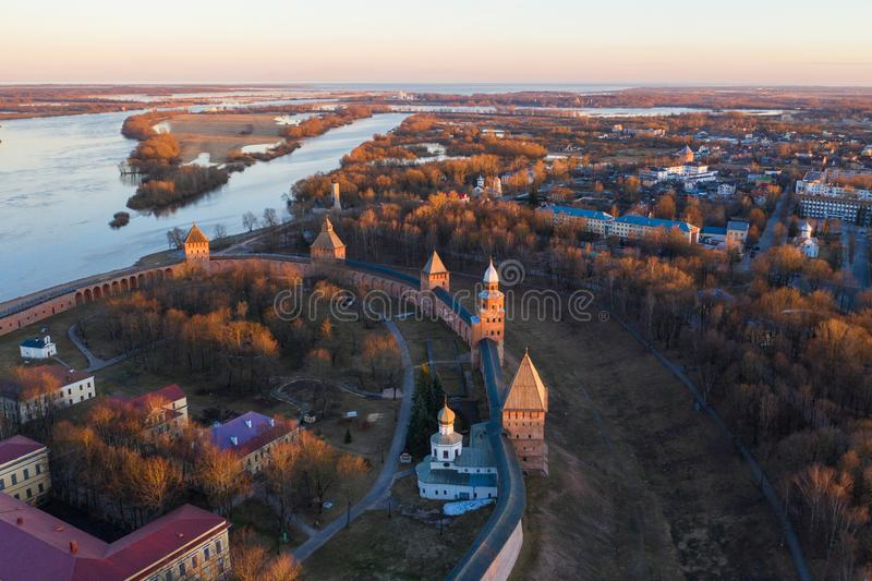 Veliky Novgorod, the old city and Kremlin. Famous tourist place of Russia.  royalty free stock photo