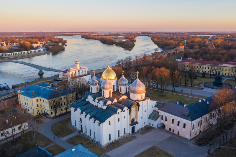 Veliky Novgorod, the old city and St. Sophia Cathedral. Famous tourist place of Russia.  stock photography