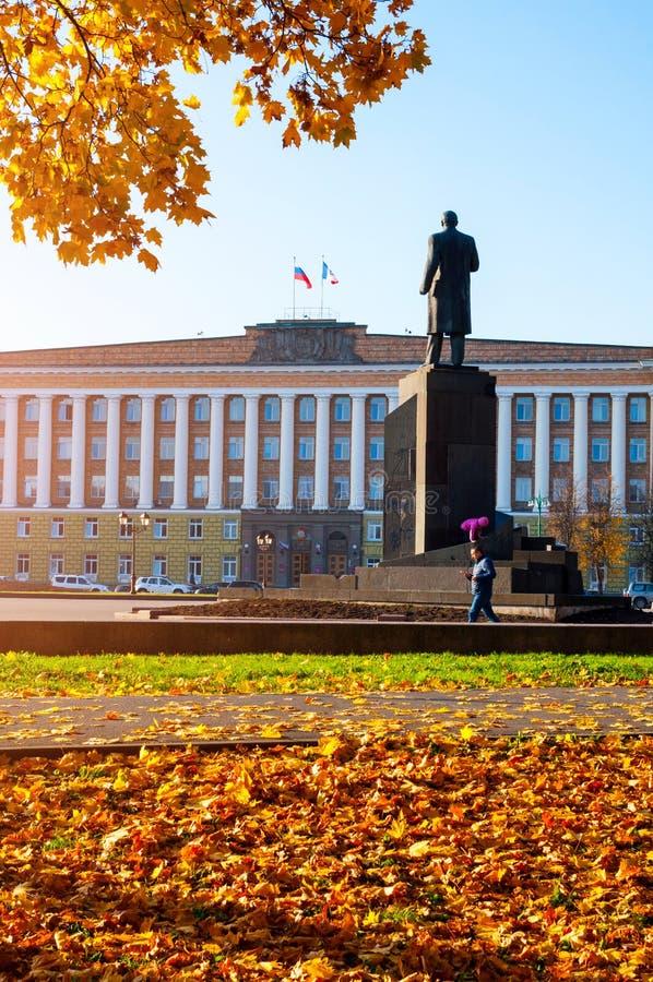 Veliky Novgorod, Rusland Beleid de Bouw van het gebied en het monument van Veliky Novgorod aan Lenin, Rusland De mening van de st royalty-vrije stock foto's