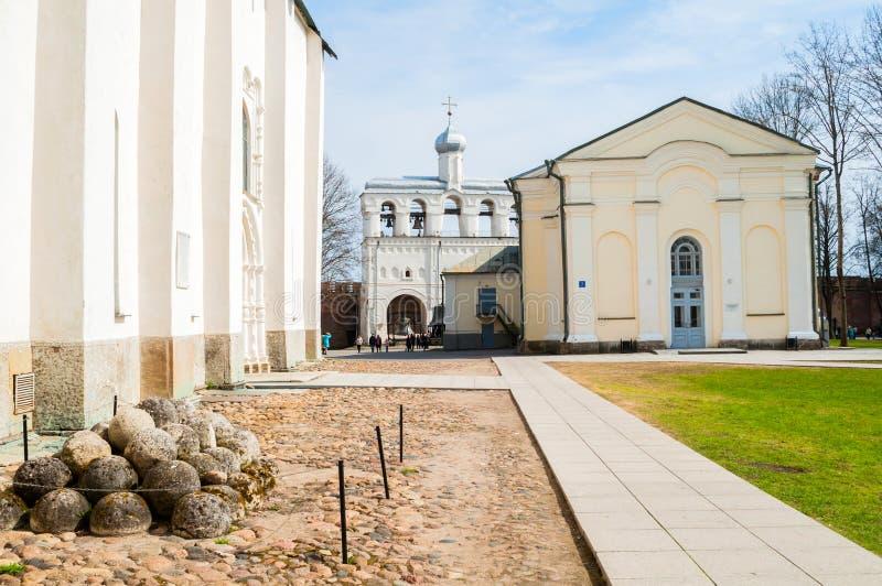 Veliky Novgorod, Rusland Het grondgebied van Velikynovgorod het Kremlin stock afbeelding