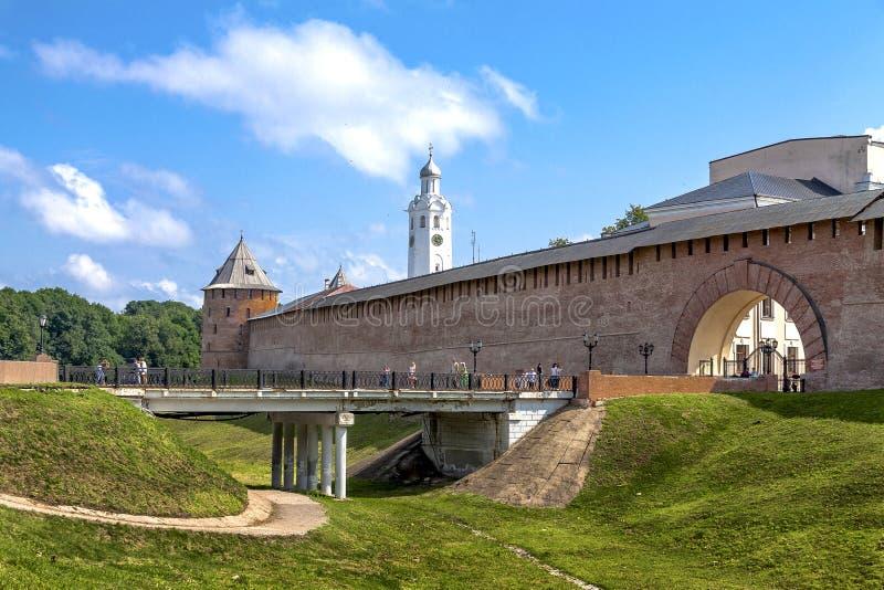 Veliky Novgorod, Rusland, 29 Juli, 2018 Het oude Kremlin royalty-vrije stock fotografie