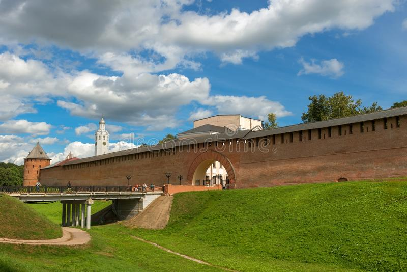 VELIKY NOVGOROD, Resurrection arch and the bridge entrance to the Kremlin. Novgorod region, Myasnoy Bor village, Russia - August 14, 2018: Resurrection arch and royalty free stock images