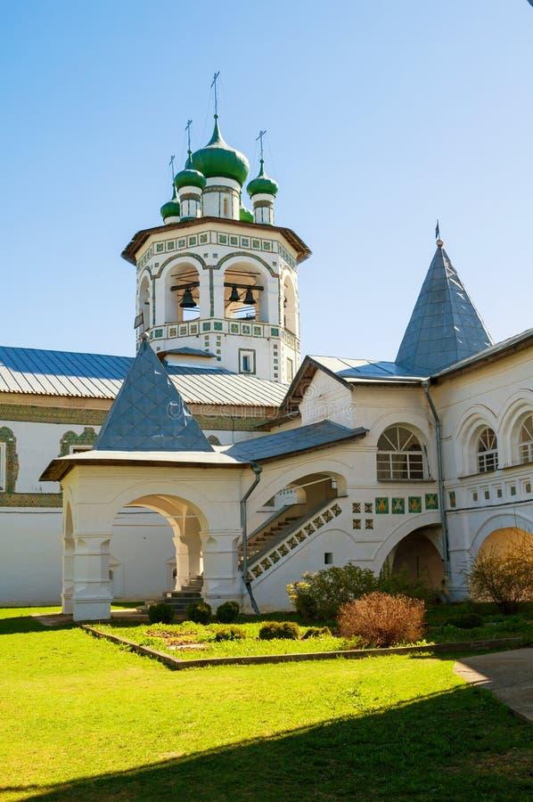 Veliky Novgorod, Russia. Belfry in Nicholas Vyazhischsky stauropegic female monastery - summer view. Veliky Novgorod, Russia. Belfry in Nicholas Vyazhischsky stock image