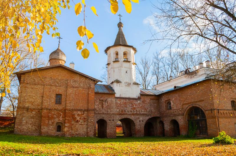 Veliky Novgorod, Russia. Church of the Annunciation at the Marketplace, connected to the church of the Archangel Michael. By transition with a bell tower royalty free stock photo