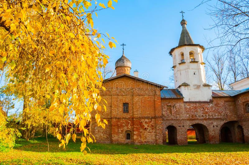 Veliky Novgorod, Russia. Church of the Annunciation at the Marketplace, connected to the church of the Archangel Michael. By transition with a bell tower stock photos