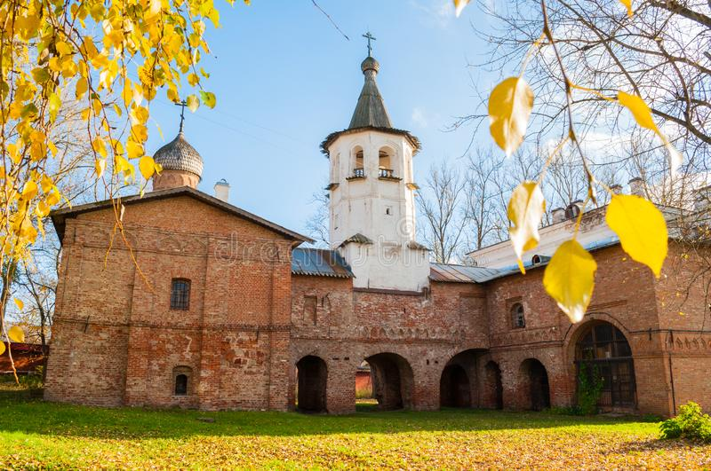 Veliky Novgorod, Russia. Church of the Annunciation at the Marketplace, connected to the church of the Archangel Michael. By transition with a bell tower royalty free stock photos