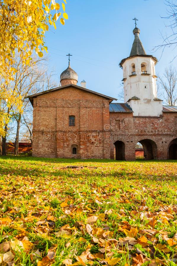 Veliky Novgorod, Russia. Church of the Annunciation at the Marketplace, connected to the church of Archangel Michael. Veliky Novgorod, Russia. Church of the stock images