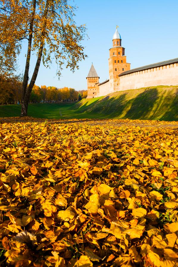 Veliky Novgorod, Russia. Kokui and Prince towers of Veliky Novgorod Kremlin in sunny autumn afternoon. Veliky Novgorod, Russia. Kokui and Prince towers of Veliky royalty free stock photos