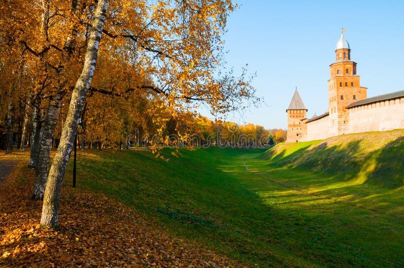 Veliky Novgorod, Russia. Kokui and Prince towers of Veliky Novgorod Kremlin in sunny autumn day. Veliky Novgorod, Russia. Kokui and Prince towers of Veliky stock image
