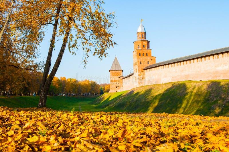 Veliky Novgorod, Russia. Kokui and Prince towers of Veliky Novgorod Kremlin in sunny autumn evening. Veliky Novgorod, Russia. Kokui and Prince towers of Veliky royalty free stock photos