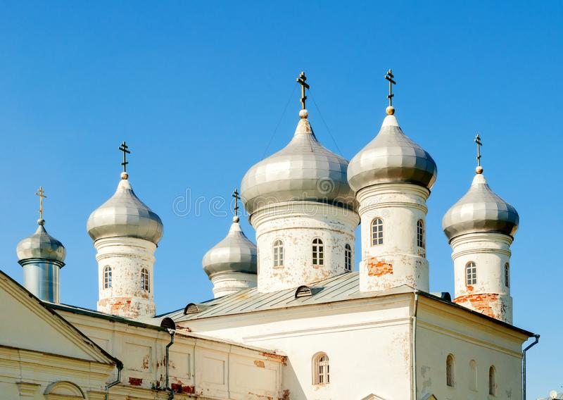 Veliky Novgorod, Russia. Saviour Cathedral on the territory of Russian orthodox Yuriev Monastery royalty free stock photography