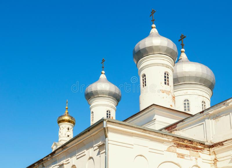 Veliky Novgorod, Russia. Saviour Cathedral on the territory of Russian orthodox Yuriev Monastery in spring sunny day royalty free stock images