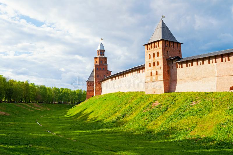 Veliky Novgorod, Russia. Towers and walls of Veliky Novgorod Kremlin fortress on the hill in Veliky Novgorod, Russia. Veliky Novgorod, Russia. Towers and walls royalty free stock photos
