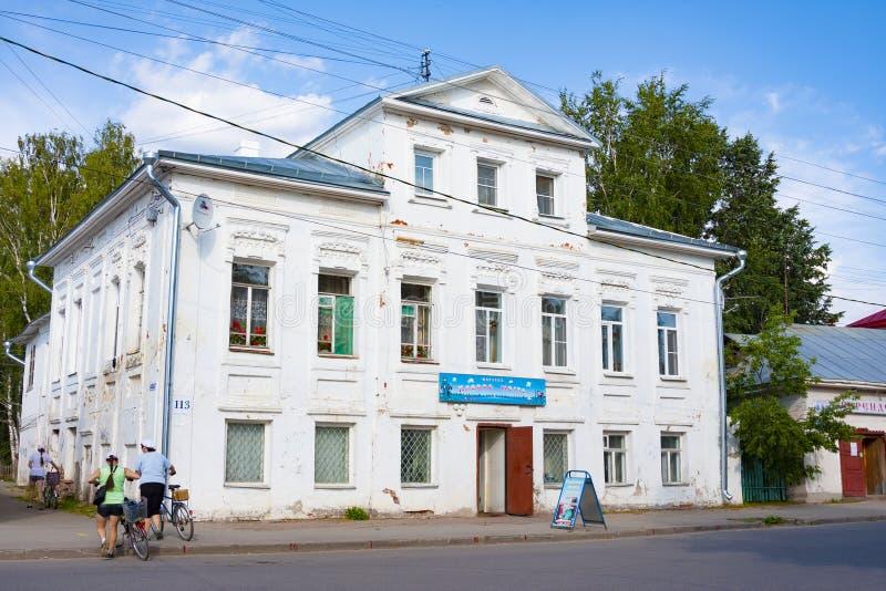 Veliky Ustyug, Vologda region - August 02, 2018: Old house in nirth tiwn, was built n 1917. Veliky Ustyug, Vologda region, Russia - August 02, 2018: Old house in stock image