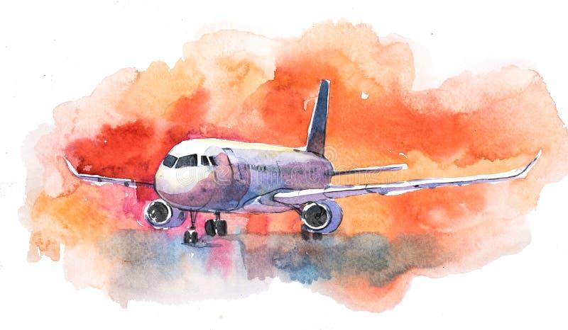 Velivoli Volo dell'aeroplano nel cielo nuvoloso L'aereo passeggeri sta atterrando alla pista dell'aeroporto royalty illustrazione gratis